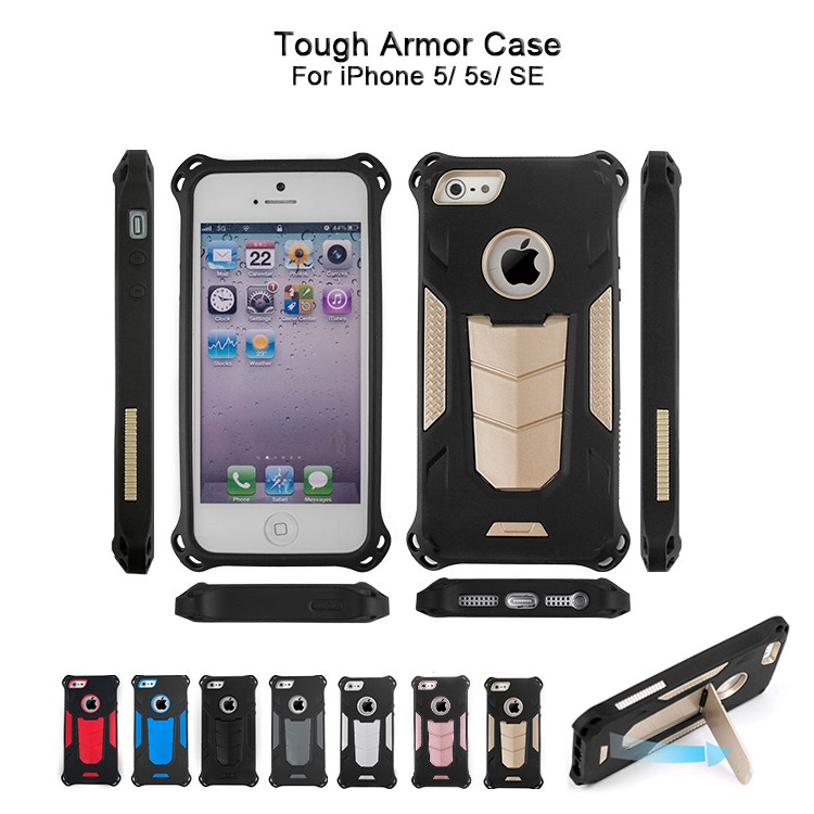 Funky Heavy Duty Hybrid Case Armor Phone Case For iPhone 5s SE With Kickstand