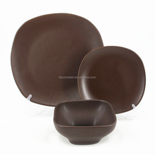 Ceramic Chocolate Brown Color Square 16pcs Dinnerware