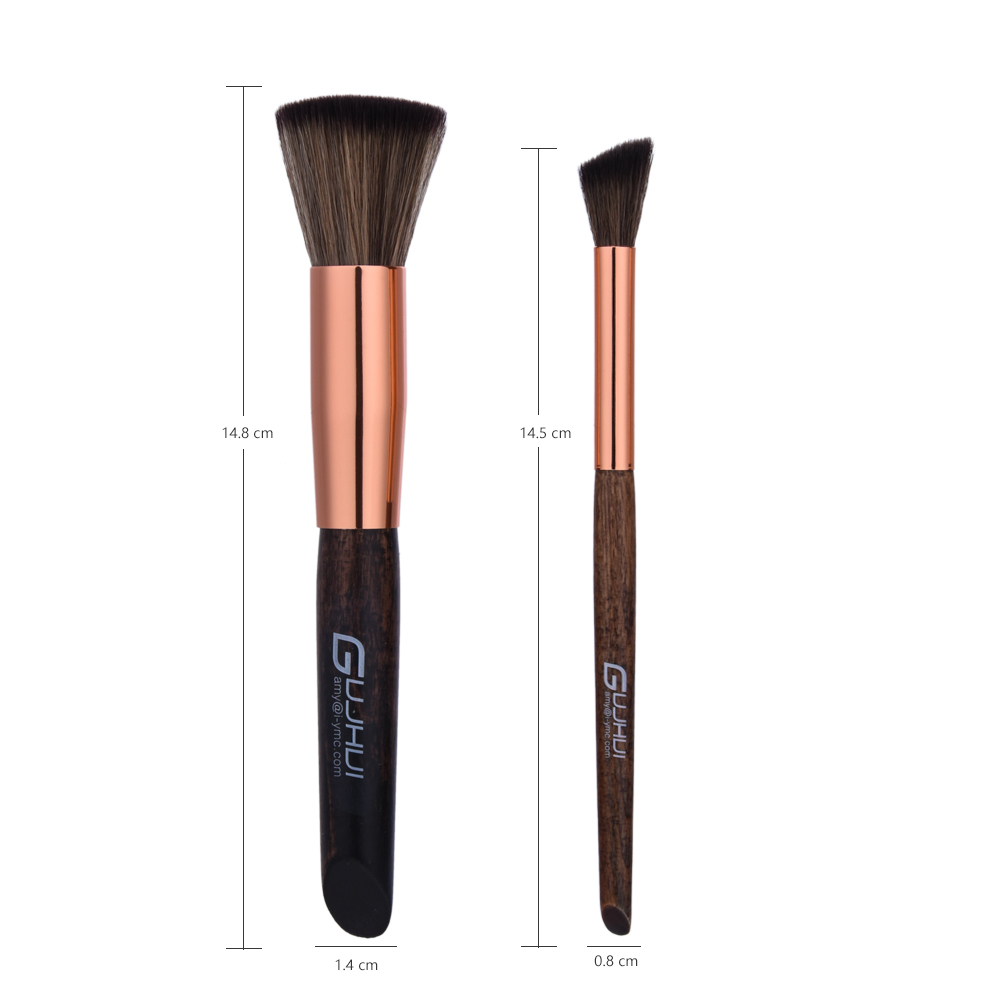 GUJHUI logo new High-end Ebony <strong>handle</strong> 10pcs makeup brush set Slant-back brushes