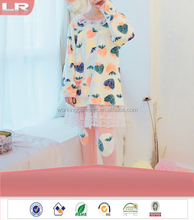 Autumn female thicken flannel pajamas cute princess sweet strawberry leisurewear suit