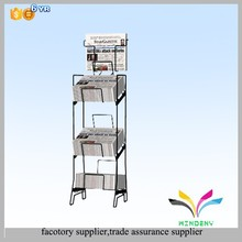 High Quality Modern Folding Metal Floor Stand Commercial Newspaper Stands