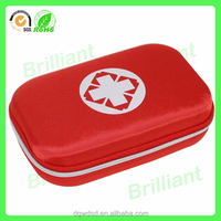 Red carrying hearing aid battery case