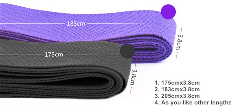 Professional 100% Cotton Yoga Strap With Custom Fabric Label