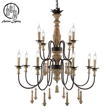 French Hotel Obby Rural Old Style Wood Used Chandelier lighting European Srtistic Wood Pendant lamp