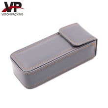 Durable pure color leather spectacle case for glasses