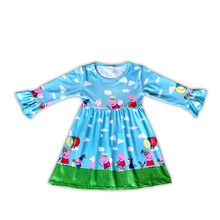 boutique long sleeve icing ruffle pig print autumn winter <strong>dress</strong> hot sale <strong>girl's</strong> <strong>dresses</strong>