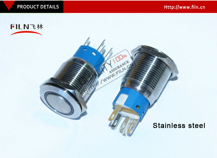 19mm red Blue 24v 12v Led Stainless steel momentary anti-vandal waterproof metal push button switch