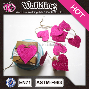 Wedding decoration colorful love heart paper felt garland flag