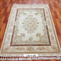 Turkish Double knots 4x6ft high end quality hand made 100% silk white persian rug for sale