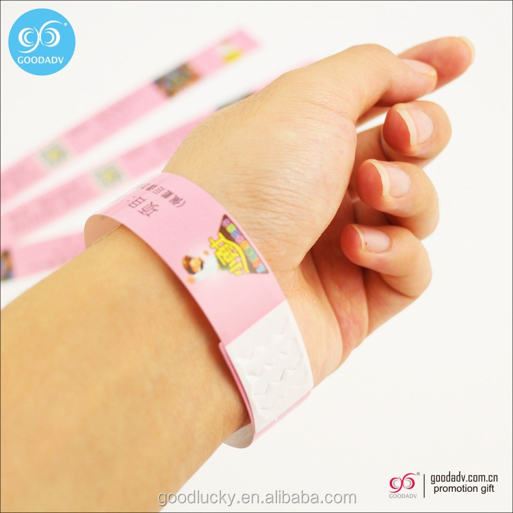 Cheap custom logo printed promotional paper ID bracelet