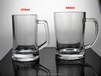 Clear heavy thick glass beer/soda mugs 15-Ounce Beer glass Mug with handle