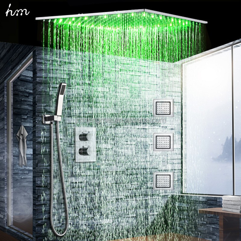 Modern 24 Inch LED Large Rain Shower Set Ceiling Rainfall Shower Head Faucets Massage Body Jets/ Thermostat Shower Controller