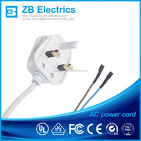British three core 3 pin 50HZ pvc power cords and cable BSI approval plugs