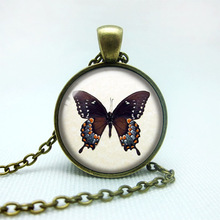 Cute Style Womens Jewelry Chain Pendant Necklaces Butterfly Glass Cabochon Necklaces Fine Jewelry for Women and Girls