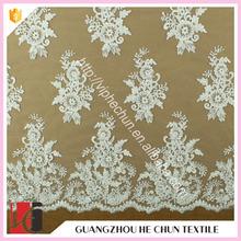 HC-6417-1 Hechun guipure embroiedry beaded heavy lace fabric for wedding dress