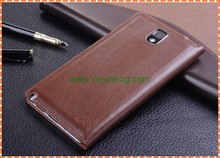Genuine Leather smart cover case for samsung galaxy note 3 with Card Slots and Holder