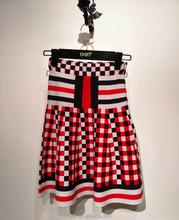 Ladies Black White Red Check Plaid Skirt for Young Girls in Short Skirt Pleated with 2017 Autumn Winter Vintage Skirt