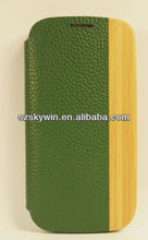 Stylish Bamboo and green Leather hybrid Case Hard Cover for samsung For Galaxy S3/S4