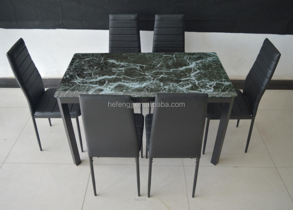 Glass Top with Marble Paper Dining Table Set
