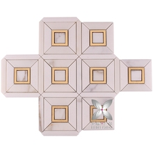 Classic tile flooring brass tile inlay with marble waterjet mosaics