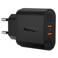AUKEY 2 Ports Quick Charge 3.0 USB Charger for Smartphones, Rechargeable Devices, EU/US Plug