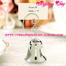 Kissing Bells Place Card holder Silver Bell with Dangling Heart Charm Wedding Table Decoration Favors