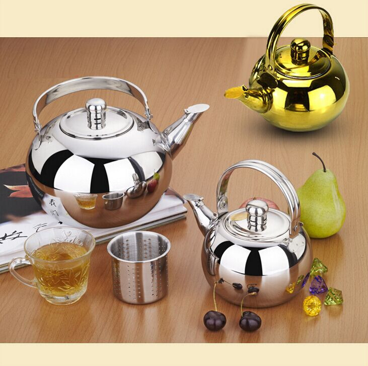 Amazon Popular Design  Ball Shape Stainless Steel Coffee Tea Set Tea Pot