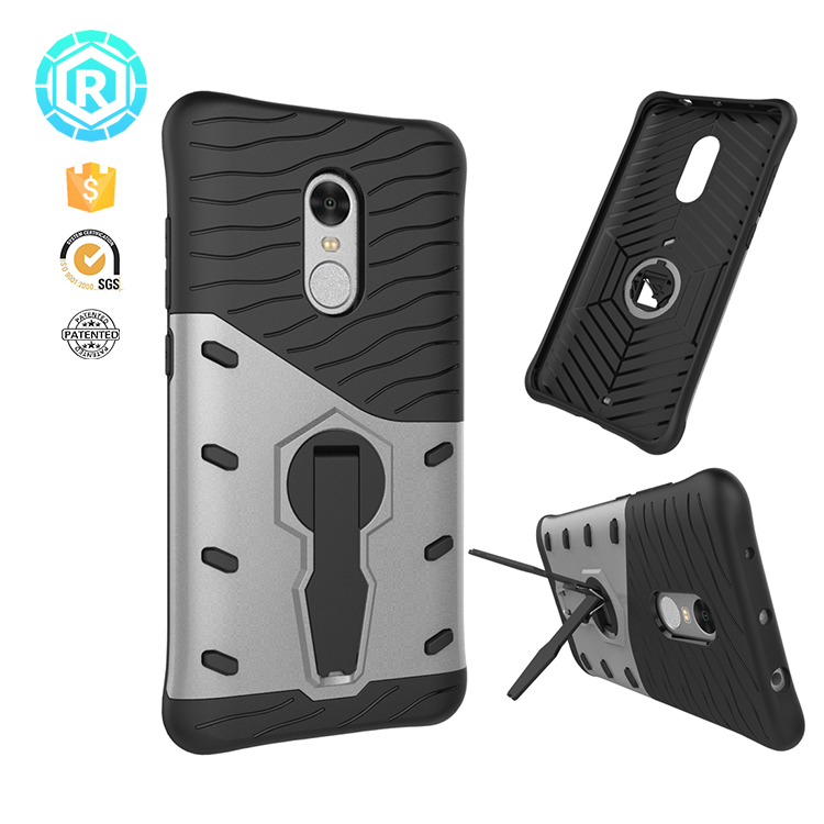 Cool Design PC+TPU Hybrid Armor Cell Phone Accessories Case with 360 Rotation Kickstand for Xiaomi Redmi Note 4