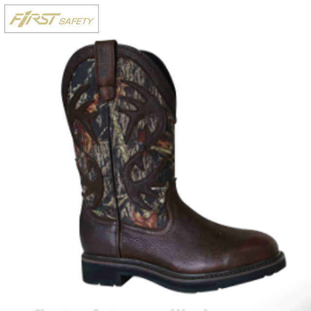 FS7060 Fashionable and Professional Pull - on Style Genuine Leather Camouflage Cordura Dual Density Outsole Work Boots