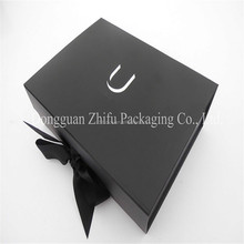 Luxury Black folding box, folding paper box, Foldable gift box with ribbon