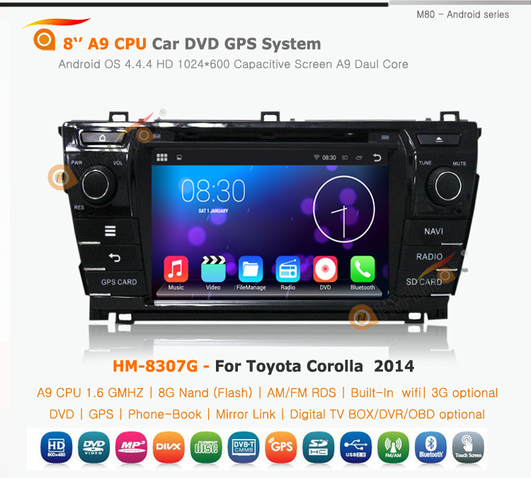 HIFIMAX Android 4.4.4 Toyota Prado 2014 Low car radio for toyota rav4 car gps radio WITH Capacitive screen+HD1024*600 Resolution