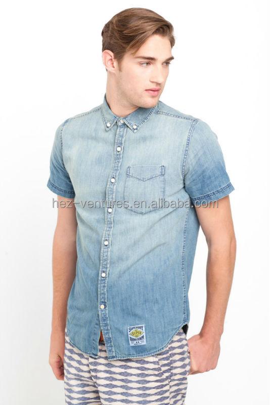 Mens Denim Shirts With Short Sleeve 100% Cotton Denim Shirts ...