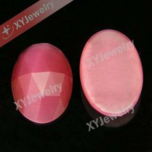 Pink Color Rose Cut Faceted Cat Eye Stone Imitation Cateye Gems