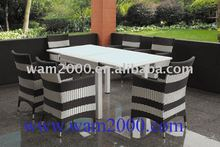 PE rattan glass top extendable dining table and chairs