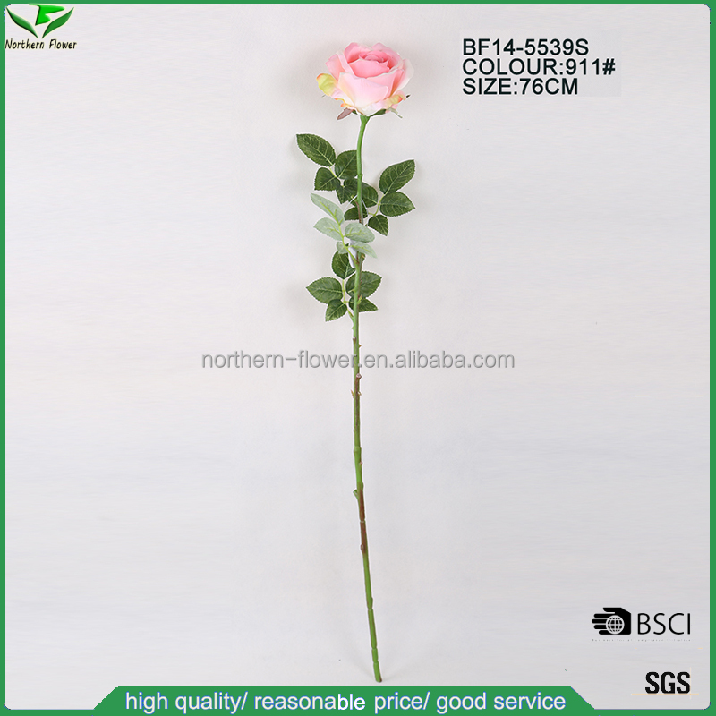 high end artificial rose , pink single stem rose,silk rose spray wholesale