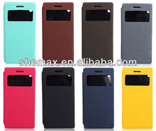 guangzhou shemax china leather case For huawei P6 with vewing window