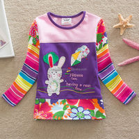 2-6Y (65536#PINK)Hot sell high quality export russia popular bunny appliqued baby girl tshirt kids wear