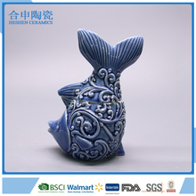 Fish shape unique candy jar ceramic cookie jar for gift