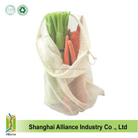 Reusable Cheap Cotton Fruit Mesh Drawstring Bag