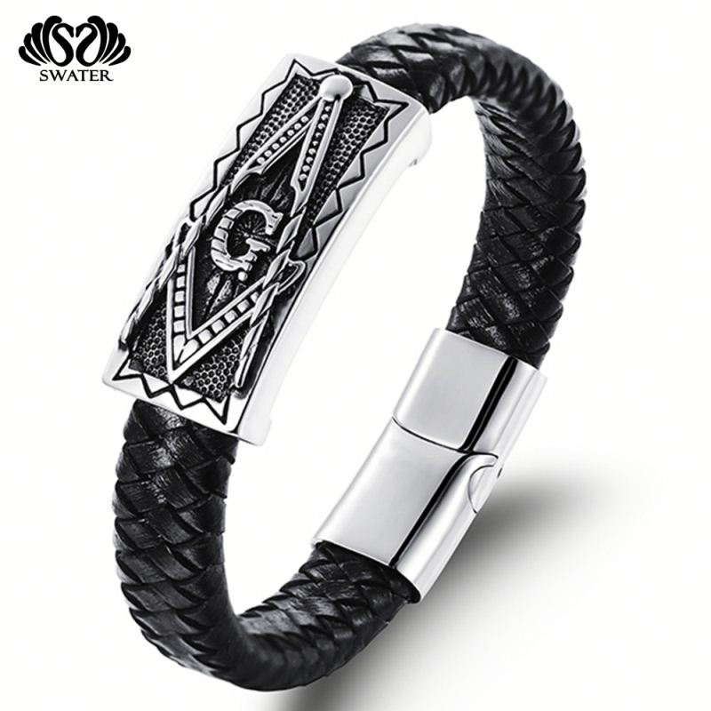 Jewelry Handmade Vintage Mens Leather Magnetic Clasp Masonic Bracelets
