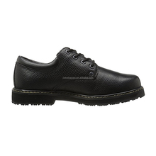 Black genuine leather waterproof and anti-slip safety shoes men work shoe with steel toe
