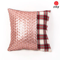2017 new sequin flower pillow case patchwork checks decorative cushion case