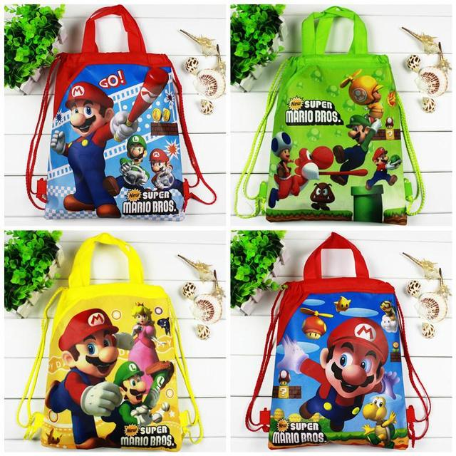4pcs/lot Super Mario backpack Children Cartoon Drawstring school bags for boys,Kids Birthday Party Favor,Mochila School Kids