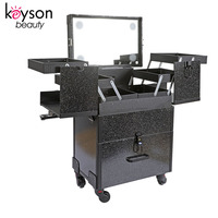 Keyson Black Glitter Rolling Cosmetic Makeup Case Mobile Makeup Station with Lights
