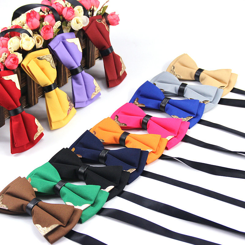 New Fashion Boutique Metal Head Bow <strong>Ties</strong> For Groom Men Women Butterfly Solid Bowtie Classic Gravata Cravat