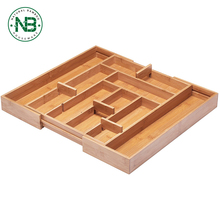 8 Compartment Expandable Drawer Silverware Organizer Bamboo Tray with Adjustable Dividers