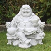 Large Garden Laughing Carving Marble Statue Of Buddha