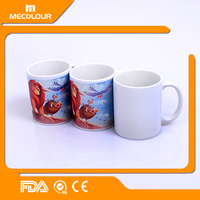 Mecolour 11oz ceramic sublimation coated white tea cup /coffee cup