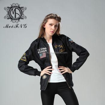 2016 Spring women bomber jacket with embroidery black short jacket factory wholesale price
