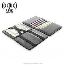RFID Blocking Bifold Slim Genuine Leather Thin Minimalist Front Magic Wallet Flap Boy Slim RFID Blocking for Men Genuine Leather